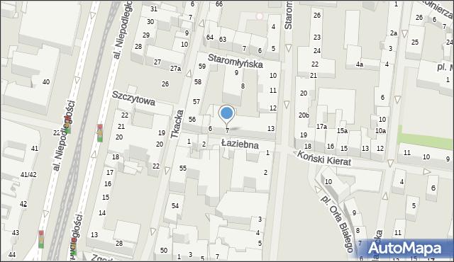 Szczecin, Łaziebna, 7, mapa Szczecina
