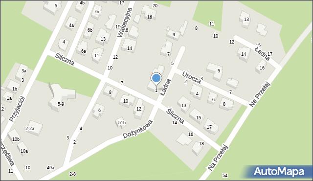 Toruń, Ładna, 1, mapa Torunia