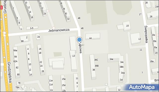 Toruń, Łąkowa, 14, mapa Torunia