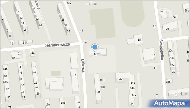 Toruń, Łąkowa, 44, mapa Torunia
