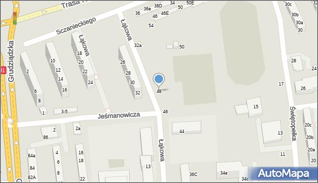 Toruń, Łąkowa, 48, mapa Torunia