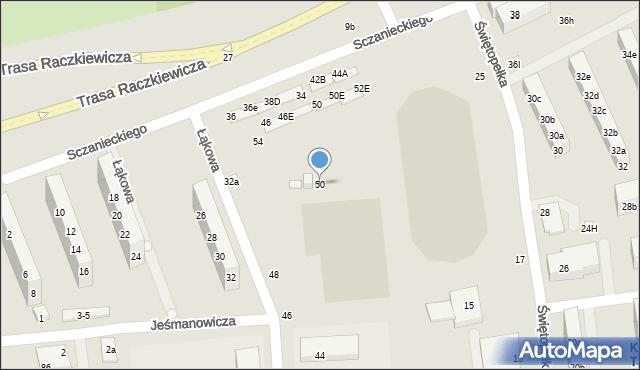 Toruń, Łąkowa, 50, mapa Torunia