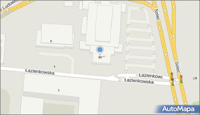Warszawa, Łazienkowska, 6A, mapa Warszawy