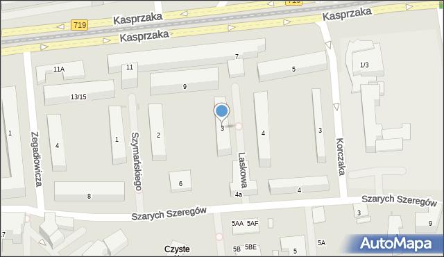 Warszawa, Laskowa, 3, mapa Warszawy