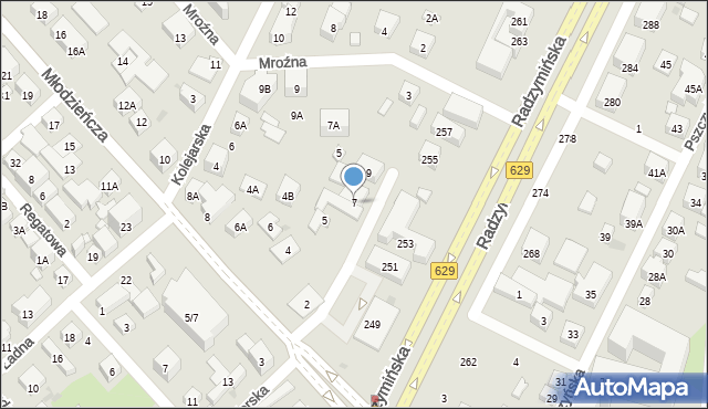 Warszawa, Łasińska, 7, mapa Warszawy