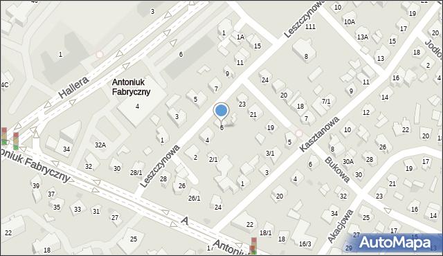 Białystok, Leszczynowa, 6, mapa Białegostoku