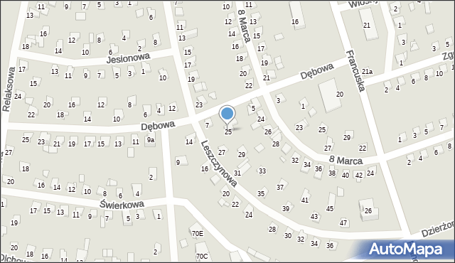 Bytom, Leszczynowa, 25, mapa Bytomia