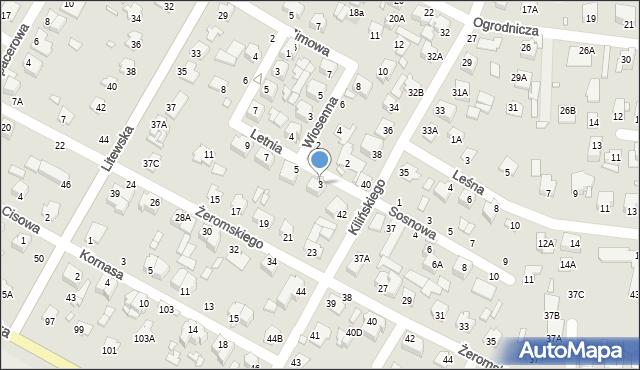 Chełm, Letnia, 3, mapa Chełma