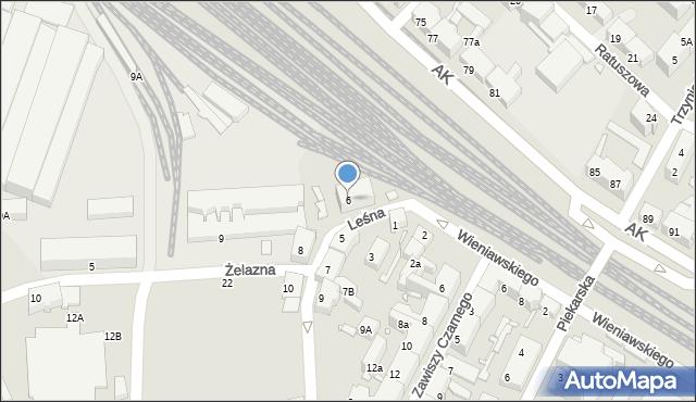 Chorzów, Leśna, 6, mapa Chorzów