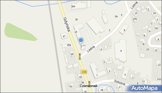 Czerwonak, Leśna, 1, mapa Czerwonak