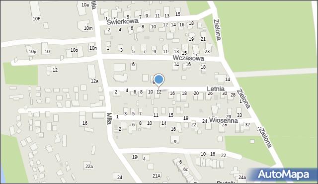 Grudziądz, Letnia, 12, mapa Grudziądza