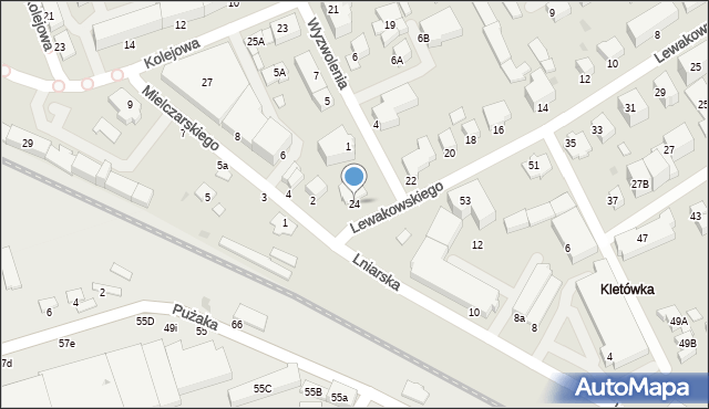 Krosno, Lewakowskiego Augusta, 24, mapa Krosna