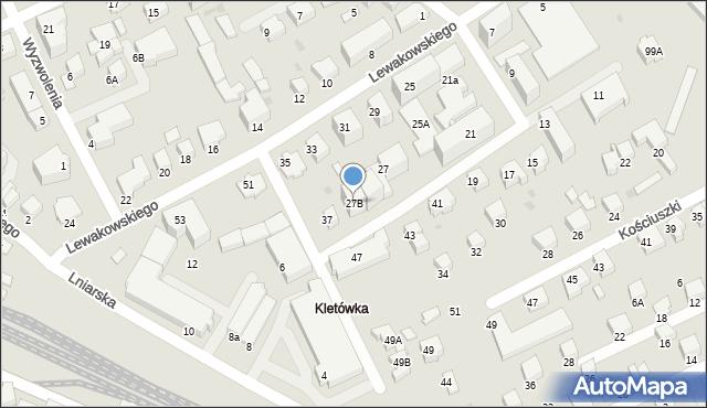 Krosno, Lewakowskiego Augusta, 27B, mapa Krosna
