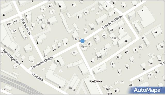 Krosno, Lewakowskiego Augusta, 35, mapa Krosna