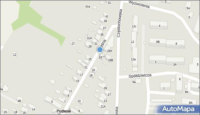Łazy, Leśna, 24, mapa Łazy