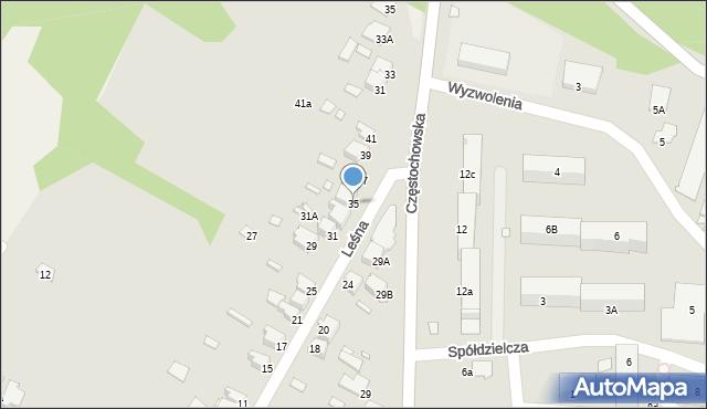Łazy, Leśna, 35, mapa Łazy