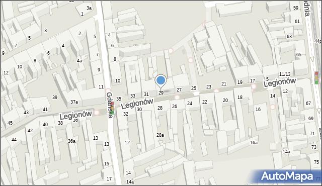 Łódź, Legionów, 29, mapa Łodzi