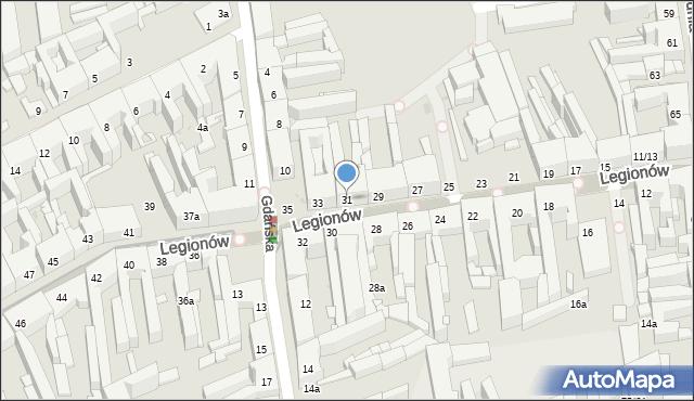 Łódź, Legionów, 31, mapa Łodzi
