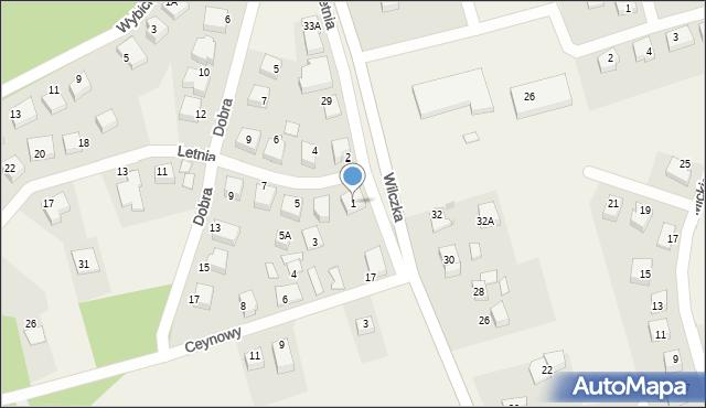 Luzino, Letnia, 1, mapa Luzino