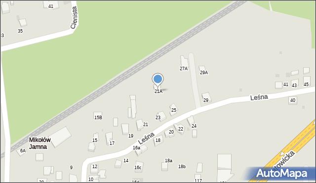 Mikołów, Leśna, 21A, mapa Mikołów