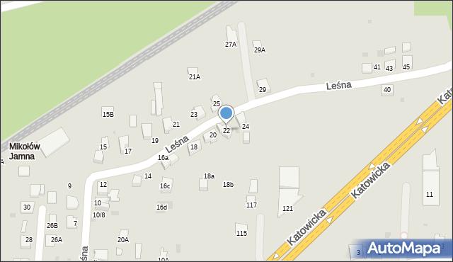 Mikołów, Leśna, 22, mapa Mikołów