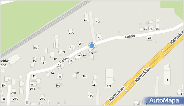 Mikołów, Leśna, 24, mapa Mikołów