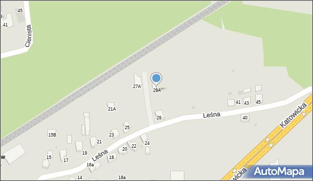 Mikołów, Leśna, 29A, mapa Mikołów