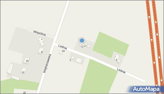 Milwino, Leśna, 1, mapa Milwino