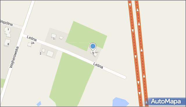 Milwino, Leśna, 5, mapa Milwino