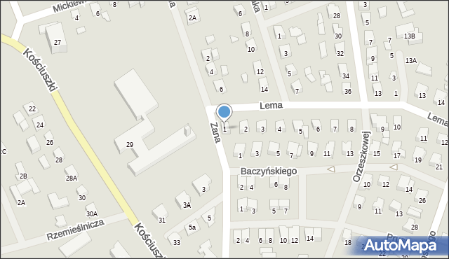Olecko, Lema Stanisława, 1, mapa Olecko