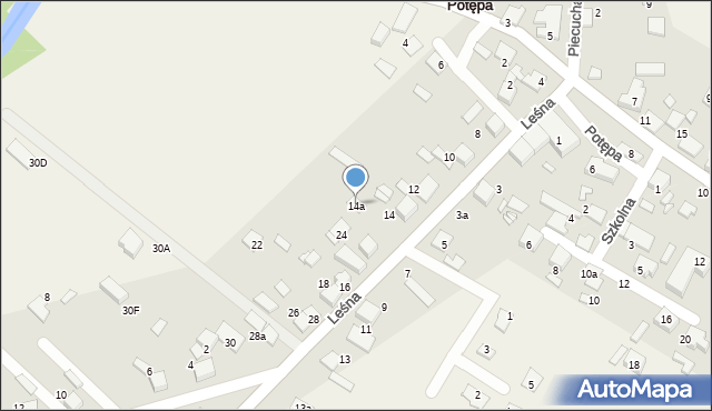 Potępa, Leśna, 14a, mapa Potępa