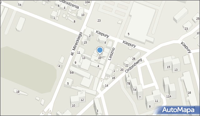 Sosnowiec, Leszno, 10, mapa Sosnowca
