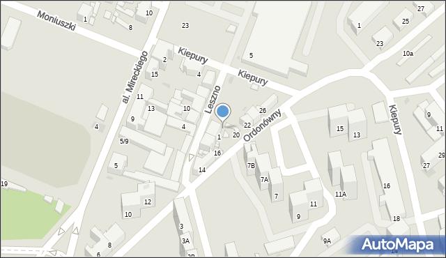 Sosnowiec, Leszno, 1B, mapa Sosnowca