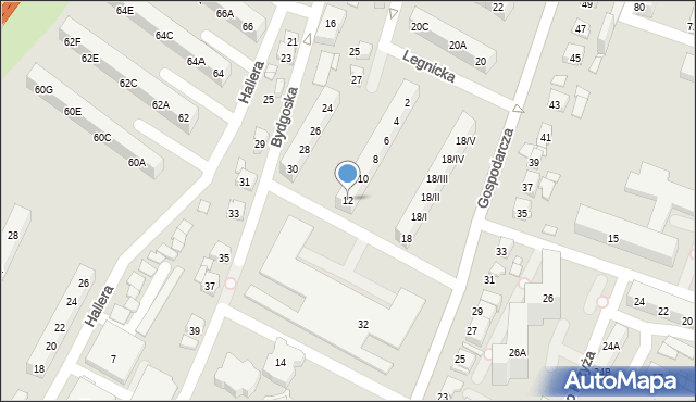 Sosnowiec, Legnicka, 12, mapa Sosnowca