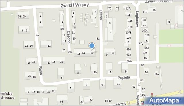 Toruń, Lecha, 10, mapa Torunia