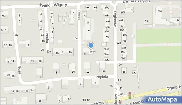 Toruń, Lecha, 11, mapa Torunia