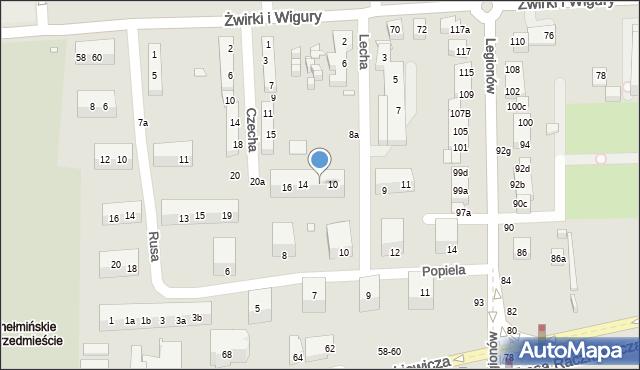 Toruń, Lecha, 12, mapa Torunia