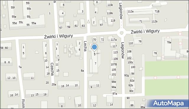 Toruń, Lecha, 5, mapa Torunia