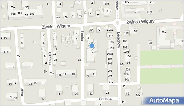 Toruń, Lecha, 7, mapa Torunia