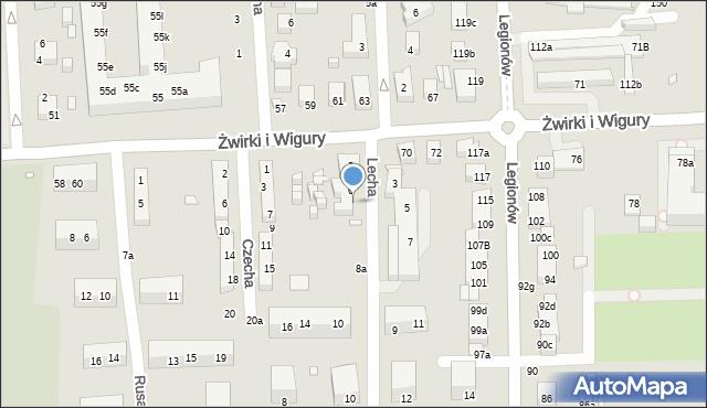 Toruń, Lecha, 8, mapa Torunia