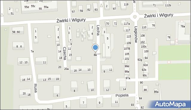 Toruń, Lecha, 8a, mapa Torunia