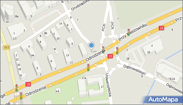 Toruń, Legionów, 1, mapa Torunia