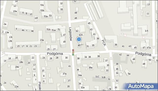 Toruń, Legionów, 40, mapa Torunia