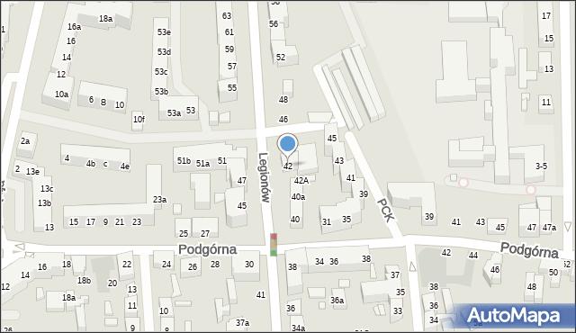 Toruń, Legionów, 42, mapa Torunia