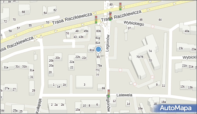 Toruń, Legionów, 81, mapa Torunia