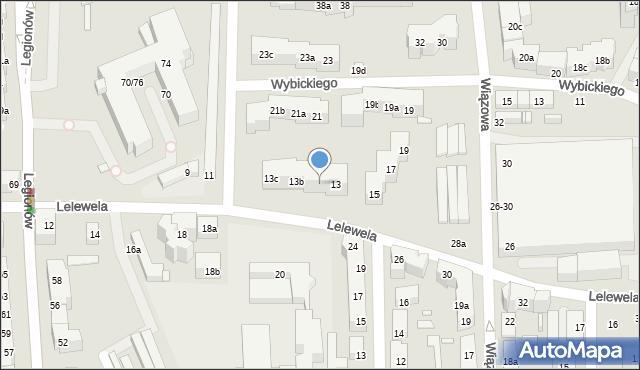 Toruń, Lelewela Joachima, 13a, mapa Torunia