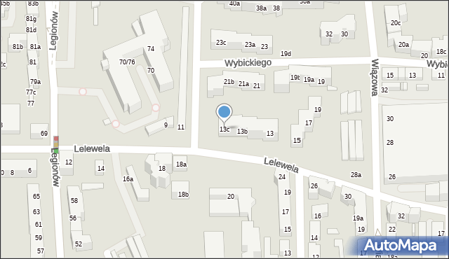 Toruń, Lelewela Joachima, 13c, mapa Torunia