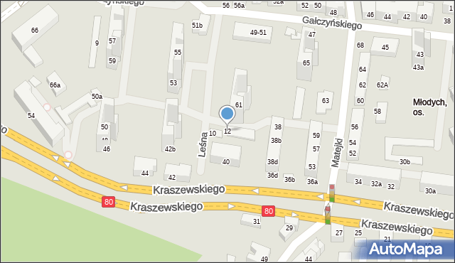 Toruń, Leśna, 12, mapa Torunia