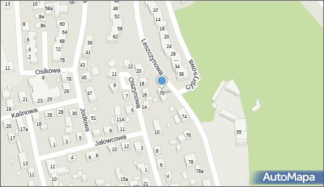 Toruń, Leszczynowa, 70, mapa Torunia