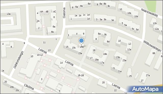 Toruń, Letnia, 15b, mapa Torunia